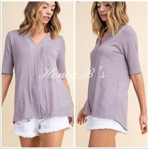 Lavender Slub Knit Split Front Tunic